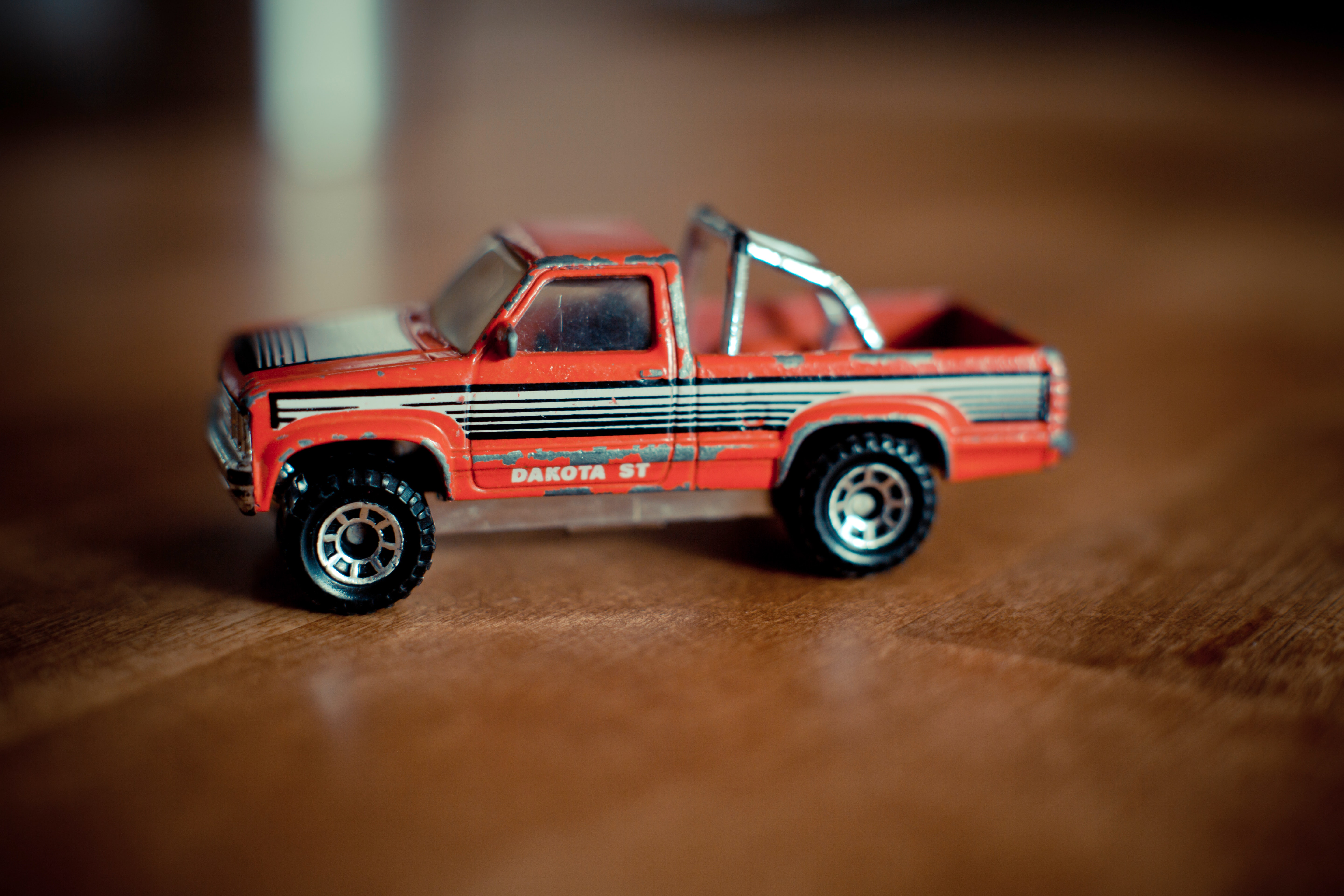 Scratched toy truck